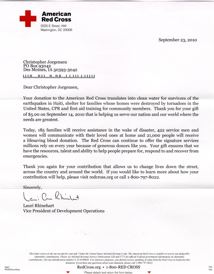 American Red Cross Thank You Letter