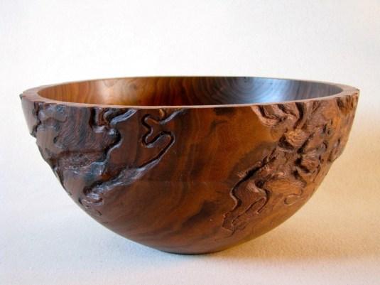 carved black walnut bowl
