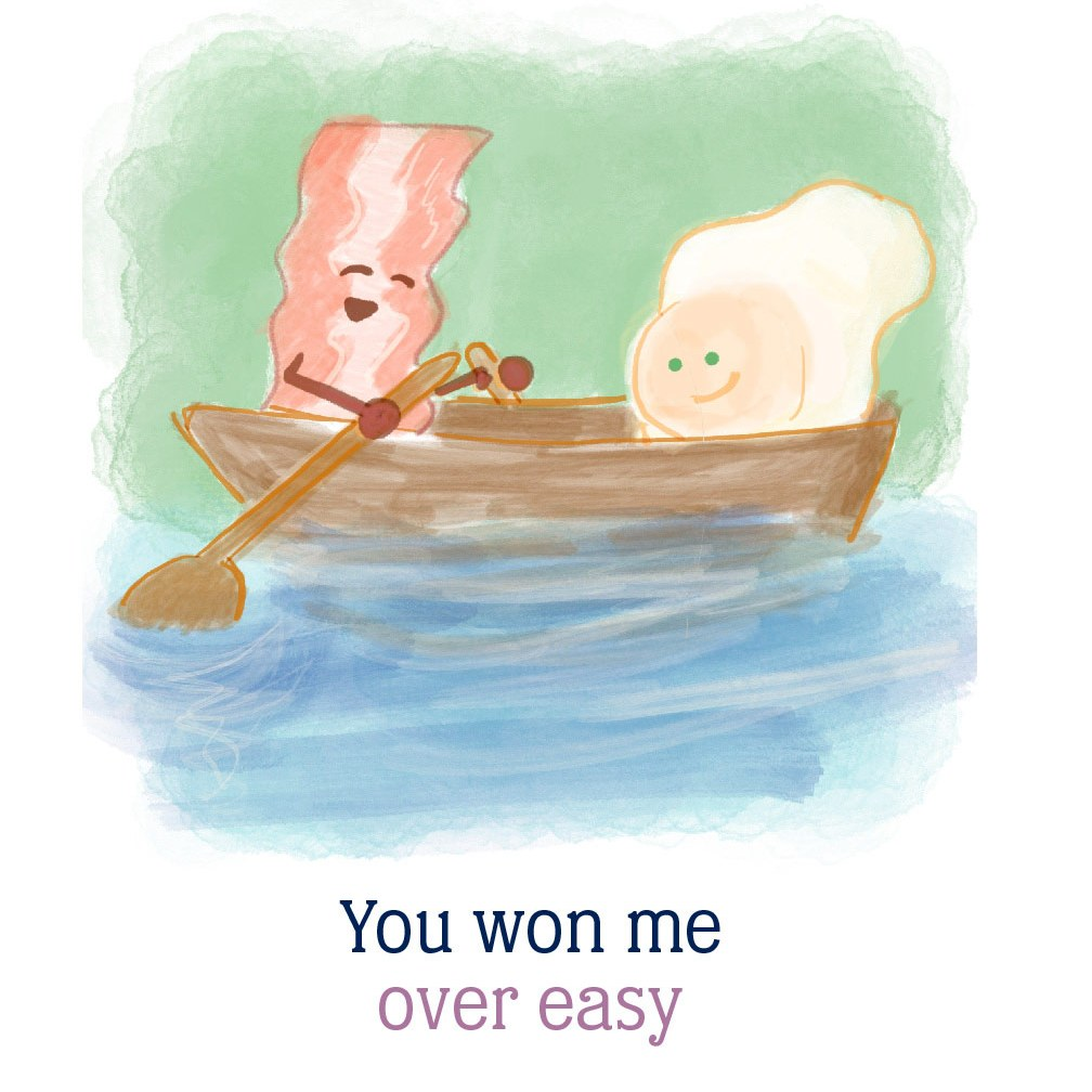 you won me over easy: bacon rowing an over easy egg in a boat