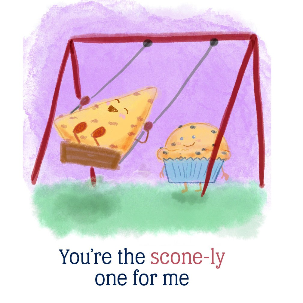 You're the scone-ly one for me: A muffin pushing a scone on the swings