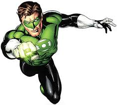 This is Green Lantern. To quickly sum him up he's part of a space police and can use his will power to create things with his ring.