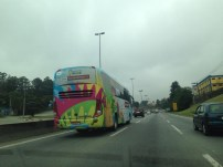 Driving past the Colombian team coach
