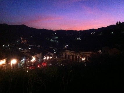 The spectacular sunset over Ouro Preto.