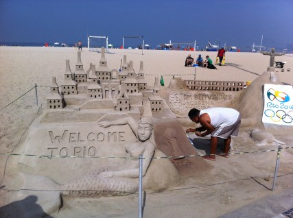 Incredible sand sculptures along the Copacabana beach