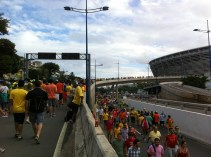 Following the crowds along closed roads towards the stadium