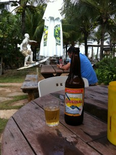 Enjoying the beer and surfer statue at least!