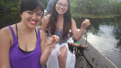 Vivien and Lara are happy the piranha's are safely skewered