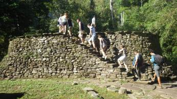 The group continues its tour of the archaeological site