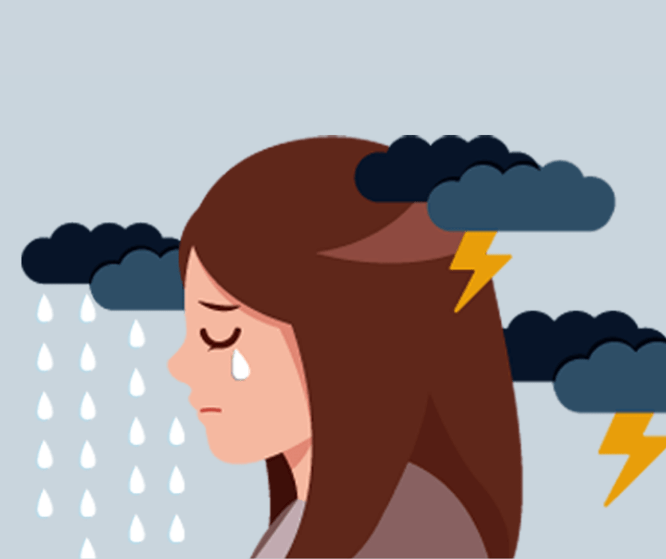 person crying storm clouds