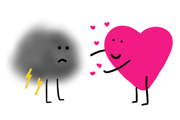 illustration-smiling pink heart offers hug to sad storm cloud