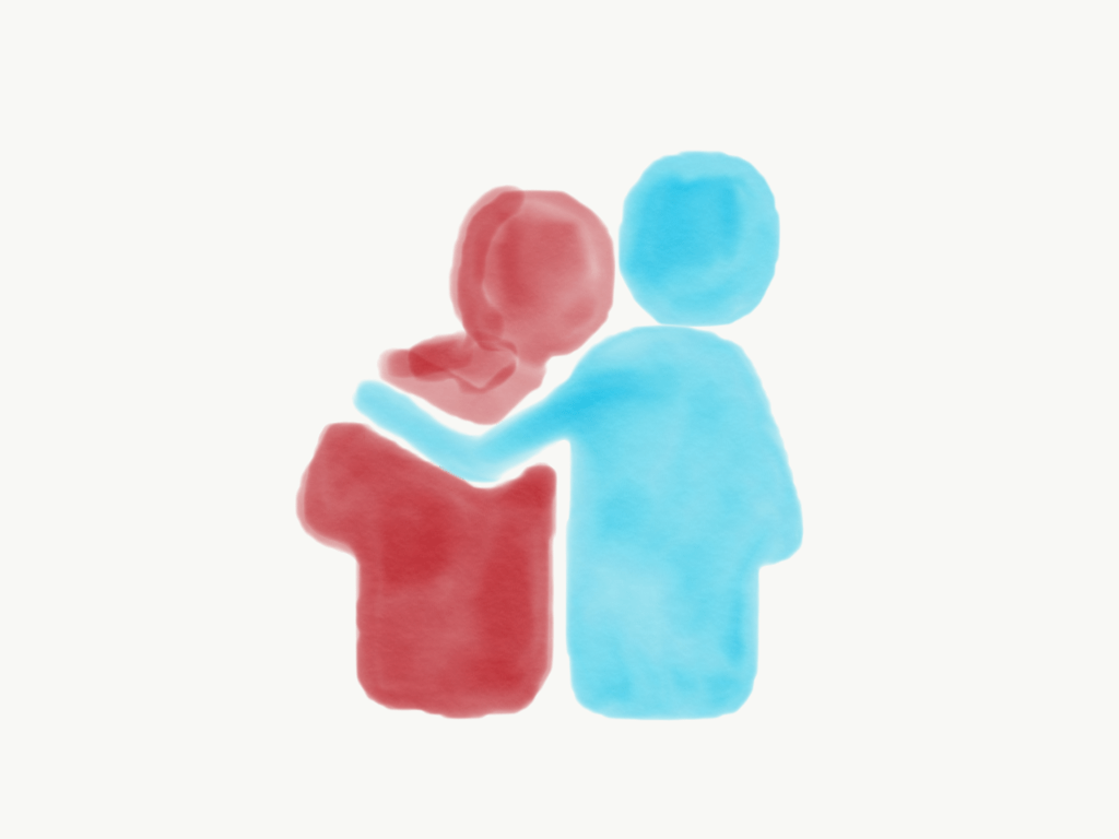illustration couple arm around shoulder