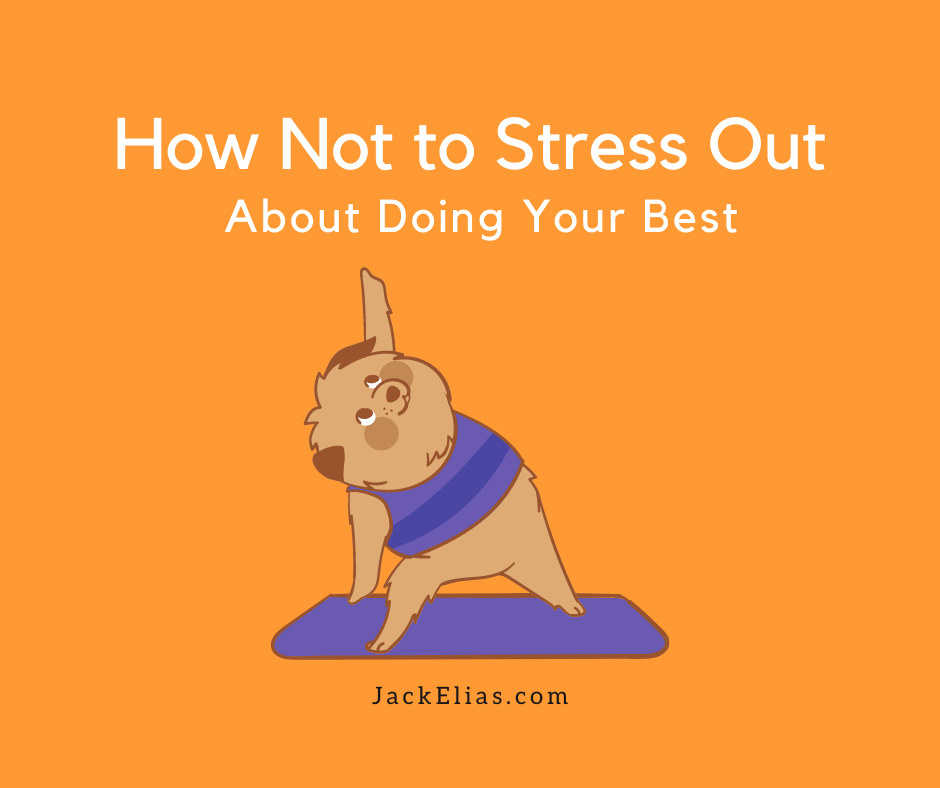 cartoon dog wearing yoga clothes, standing in yoga stretching pose on mat