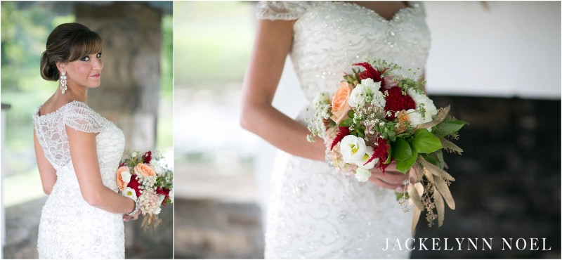 Portraits of Leila's dress and bouquet.