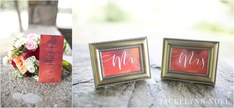 Wedding details; the Mr. & Mrs. place cards and menu card.