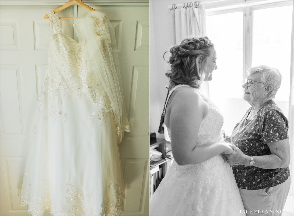Lisa's dress and a photo of Lisa and her grandmother after Lisa put on her wedding dress