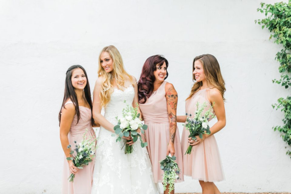 Bridal party styled session with pale pink bridesmaid dresses