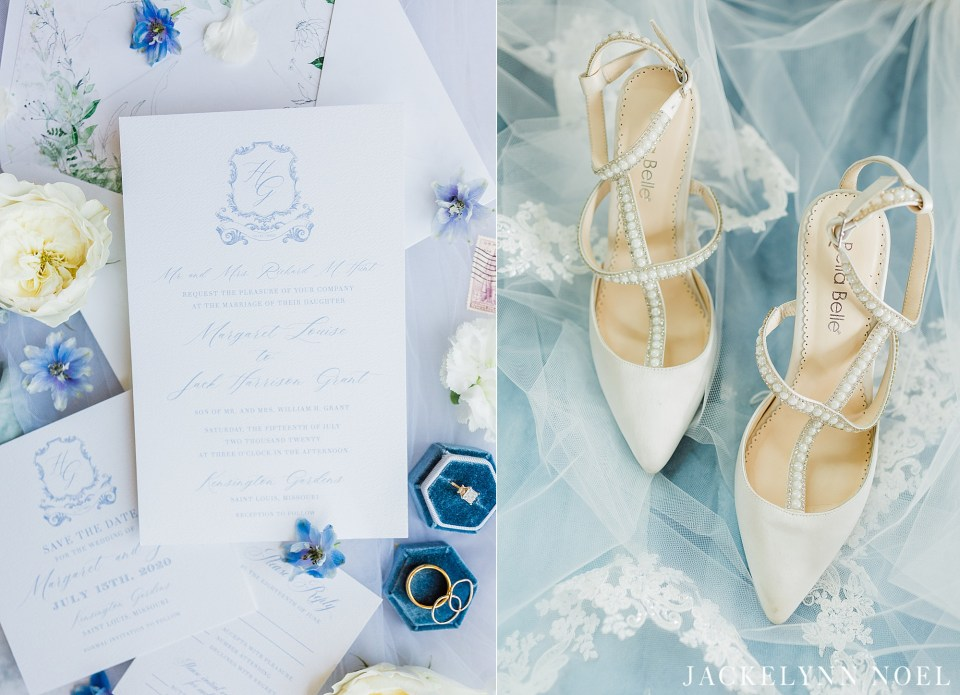 White and Blue wedding invitation and Bella Belle Shoes