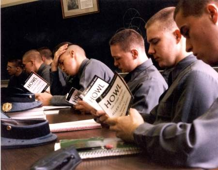 Cadets read Howl, February 19, 1991, Virginia Military Institute, Lexington, Vir