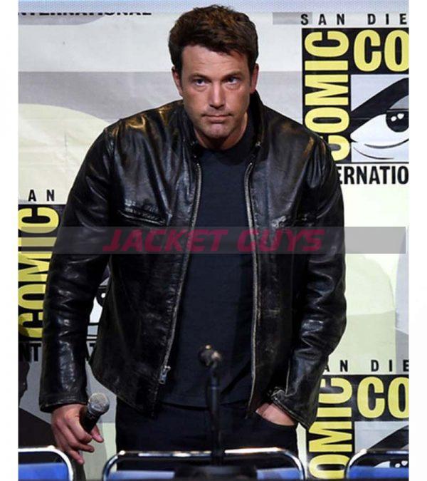 Get ben affleck casual distressed real black leather biker jacket