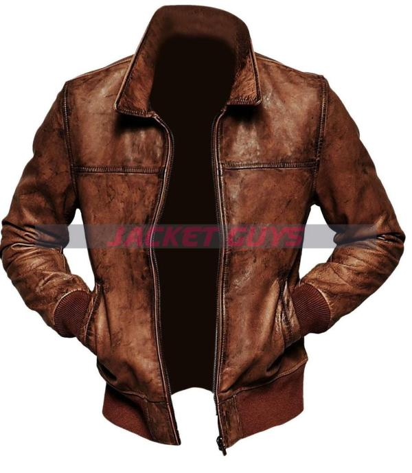get rusted leather jacket with ribbed cuff