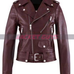 buy now women's belt leather jacket