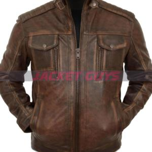 mens distress brown leather jacket on sale