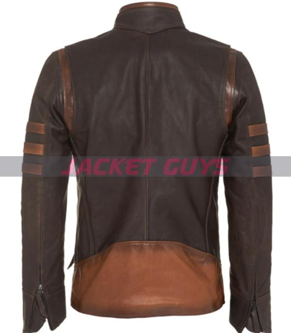 on discount hugh jackman x men origins wolverine brown leather jacket with striped style