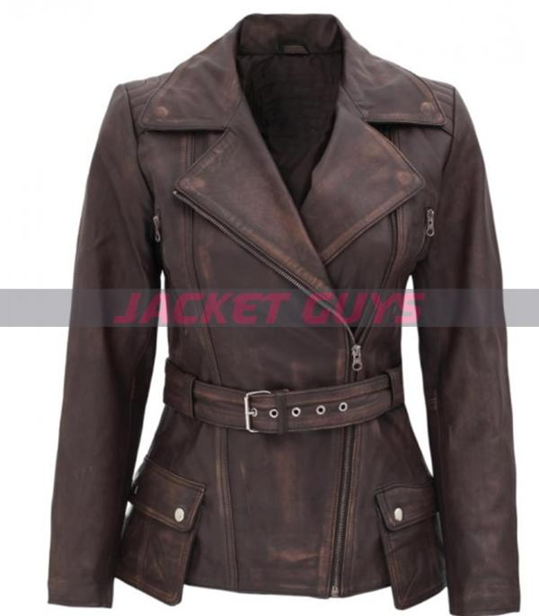 ladies brown distressed leather jacket on discount