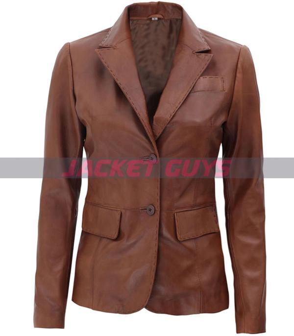 women's leather brown blazer is shop now