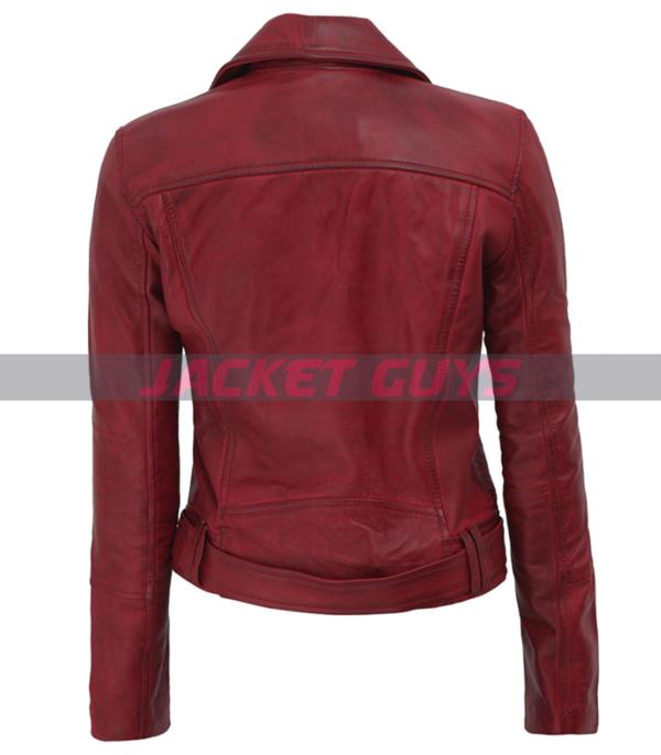 for sale red leather distress jacket