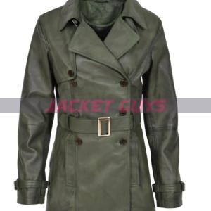 on sale women's leather green trench coat