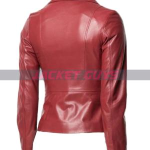 for sale women red leather jacket