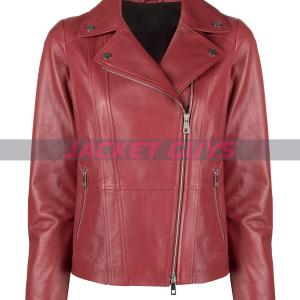 women red leather jacket buy now