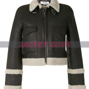 for sale shearling trim leather jacket