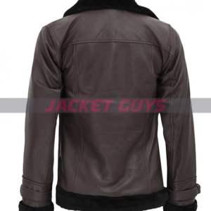 buy now dark brown shearling leather jacket