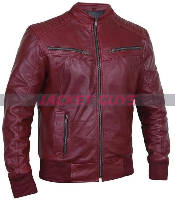 men blood red leather jacket buy now