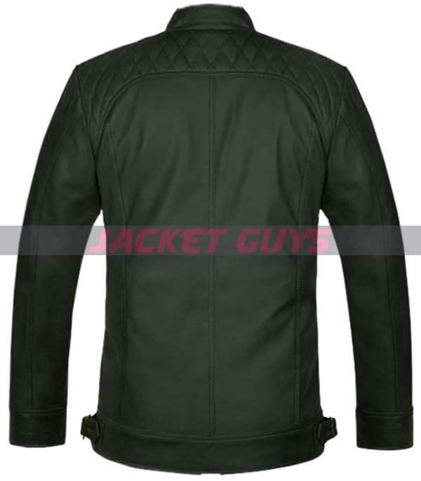 buy now dark green leather jacket