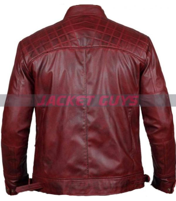 selling men distress maroon leather jacket