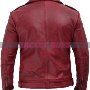 shopping maroon leather jacket