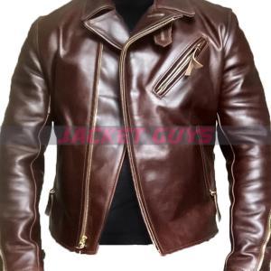 men heavy duty brown leather jacket on sale