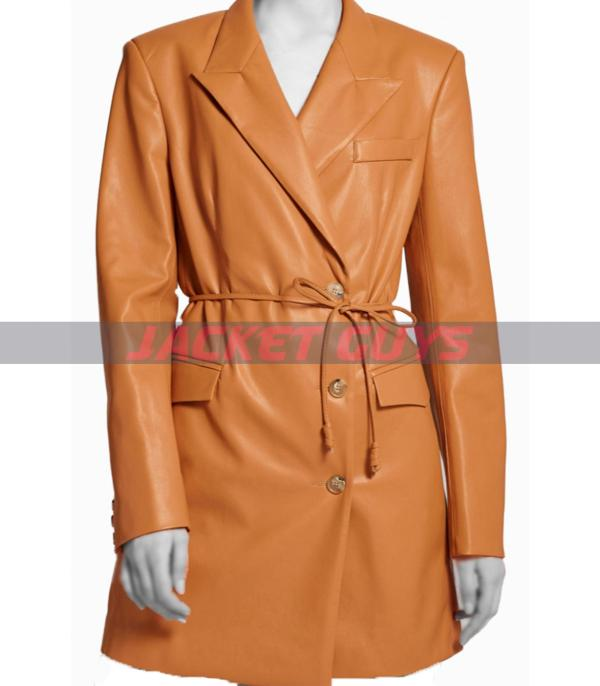 get it now trench leather coat