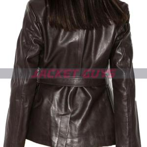 buy now womens dark brown short leather coat