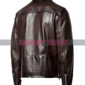 on discount mens funnel neck leather jacket