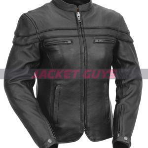 ladies armoured leather jacket on sale