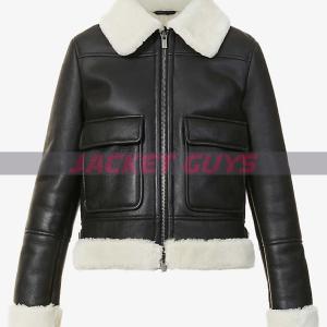 ladies black aviator leather jacket buy now