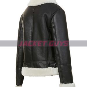 on sale ladies black aviator leather jacket