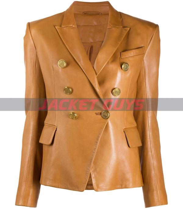 for sale women brown leather blazer