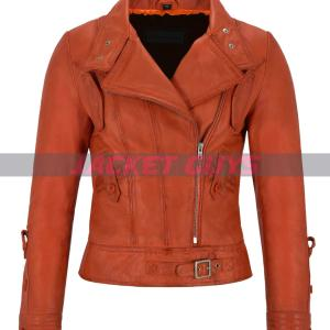 buy now ladies orange leather jacket