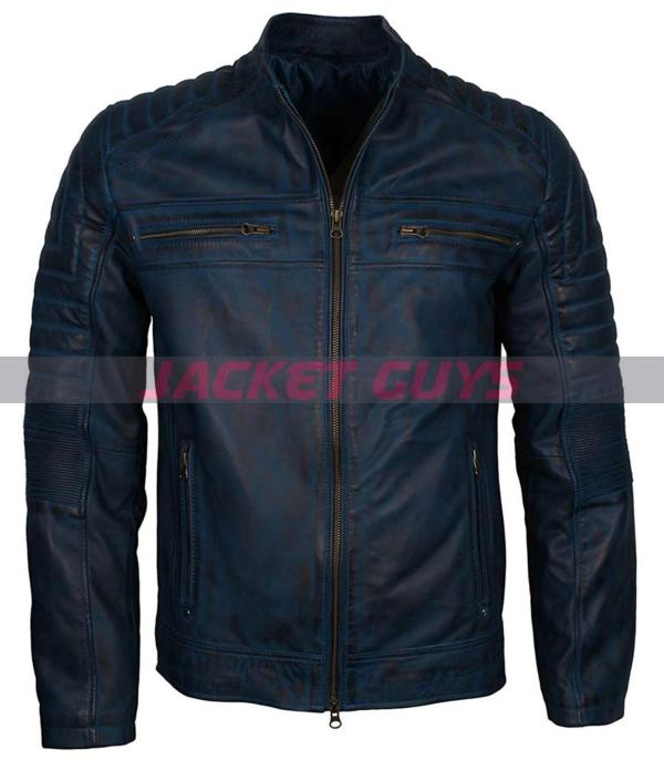 buy now mens blue distress leather jacket
