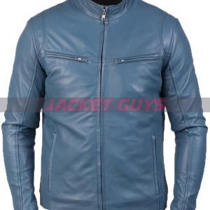 buy now blue leather biker jacket for men